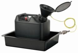 Entsorgungseinheit mit Sicherheitstrichter und Auffangwanne, PE-HD, elektrisch ableitfähig LLG WWW-Katalog
