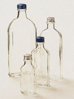 Culture bottles, flat panel sided, clear glass