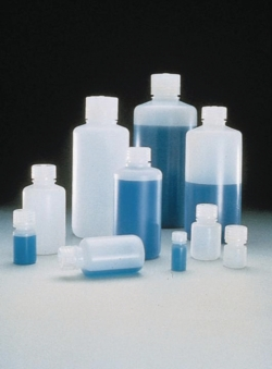 Narrow-mouth bottles Type 2002, PE-HD, with screw cap, PP LLG WWW-Catalog