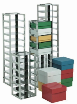 Cryogenic box racks for chest freezers