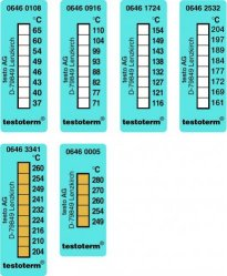 Temperaturmessstreifen testoterm®, irreversibel, 8 Temperaturen LLG WWW-Katalog