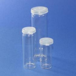 Flacon pilulier, en verre sodocalcique avec couvercle coiffant à clipser en PE WWW-Interface
