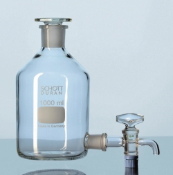 Aspirator bottles, Duran®, conical joint neck and outlet tubulure, with stoppers LLG WWW-Catalog