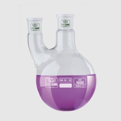 Round bottom flasks with two necks, parallel arm, borosilicate glass 3.3