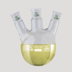 Dreihals-Rundkolben mit Normschliff, mit schrägem Hals, Borosilikatglas 3.3 LLG WWW-Katalog