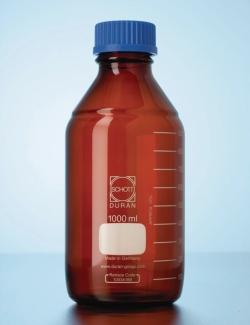 Flacon de laboratoire, verre brun DURAN®, avec bouchon à vis et bague de déversement en PP