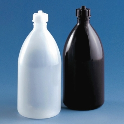 Enghalsflaschen, mit Schraubverschluss, LDPE, braun