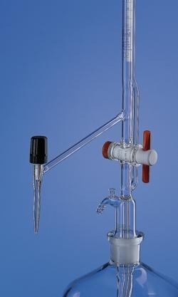Buretas automáticas, patrón de Pellet, vidrio de borosilicato 3.3, Clase AS, con llave de paso