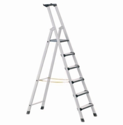 Stepladders with treads and padded front edges