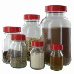 Weithalsflaschen, Glas klar oder braun, Verschluss PTFE-kaschiert