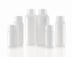 """Round Bottles, series 321 """"VarioPack Dual""""<br>with PA barrier layer, white"""