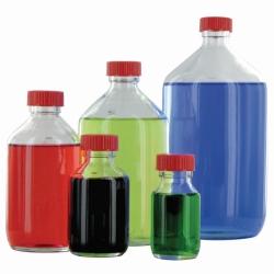 Enghalsflaschen, Glas, klar oder braun, Verschluss mit PTFE-Einlage