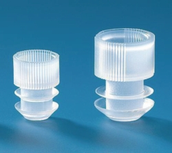 Grip stoppers for centrifuge tubes, round bottom, LDPE