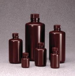 Narrow-mouth bottles Nalgene™, with closure, HDPE, amber