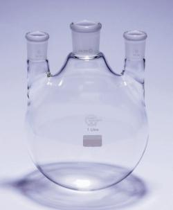 Driehalsrondbodemkolven met NS, rechte zijhalzen, Pyrex®
