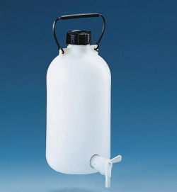 Abklärflaschen, HDPE, mit Hahn, PP