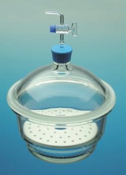 Dessiccateur à vide, boro 3.3, avec bouton plastique, robinet et plaque en porcelaine WWW-Interface